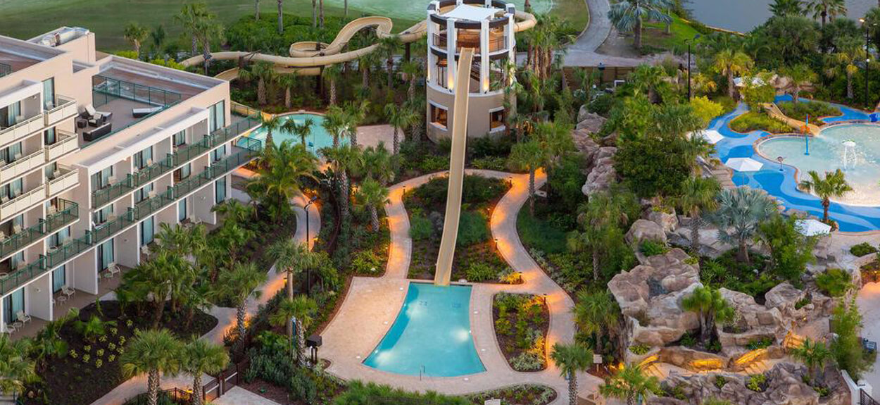arial shot of Orlando World Center Marriott