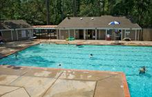 Lifeguard scanning pool at Bear Branch Village