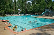 Children in Bear Branch Village pool