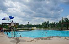 Lifeguard on duty at Benders Landing Estates pool