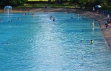 Swimmers in water at Borough of Dormont pool