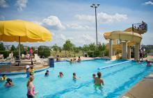 People in Liberty Grove pool