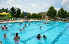 Swimmers in pool at Phillips Park Family Aquatic Center