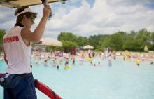 Lifeguard signaling at Splash Country Water Park